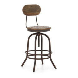 ZUO - Twin Peaks Counter Chair - A shorter version of the Twin Peaks Bar Chair. The Twin Peaks Counter Chair adds a touch of Edwardian working man to your kitchen. Made of solid elm wood with antique metal base and accents.