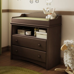 South Shore - Angel Changing Table - Features: -Changing table.-Open storage compartment.-Two drawers with Smart Glide system.-Attractive wood handles.-Top features rounded contours for added safety.-Suitable for baby bedroom.-EPP certified.-Made in Canada.-Engineered wood construction.-Chocolate finish.-Designed to match most chocolate-finish cribs.-Angel collection.-Collection: Angel.-Distressed: No.-Country of Manufacture: Canada.Dimensions: -Overall Product Weight: 84 lbs.Assembly: -Adult assembly required.Warranty: -Manufacturer provides 5 year warranty.