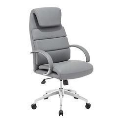 """Zuo - Zuo Lider Comfort Gray Office Chair - Gray faux leather office chair. This chair has a leatherette wrapped seat and back cushions with chrome solid steel arms with leatherette pads. There is a height and tilt adjustment with a chrome steel rolling base. Chrome finish solid steel arms with leatherette pads. Height and tilt adjustment. Crome finish steel rolling base. A chic addition to your home from Zuo Modern. 27 1/2"""" wide. 27 1/2"""" deep. Height adjusts from 44 1/2"""" - 47 3/4"""". Seat is 18"""" square. Seat height adjusts from 20"""" - 23 3/4"""". Arm height adjusts from 27"""" - 30"""". Fully assembled.  Gray faux leather office chair.  This chair has a leatherette wrapped seat and back cushions with chrome solid steel arms with leatherette pads. There is a height and tilt adjustment with a chrome steel rolling base.  Chrome finish solid steel arms with leatherette pads.  Height and tilt adjustment.  Crome finish steel rolling base.  A chic addition to your home from Zuo Modern.  27 1/2"""" wide.  27 1/2"""" deep.  Height adjusts from 44 1/2"""" - 47 3/4"""".  Seat is 18"""" square.  Seat height adjusts from 20"""" - 23 3/4"""".  Arm height adjusts from 27"""" - 30"""".  Fully assembled."""