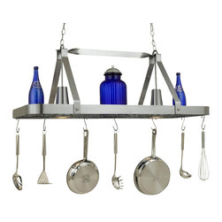 Hi-Lite MFG - Sterling Pot Rack in Satin Steel Finish - Includes six pot rack hooks, 3 ft. chain and 7 ft. wire. Accessories and bulbs not included. Two-lite pot rack. UL listed. Two 100W MED BASE INC for lamps. Voltage: 120 V. Made from steel. 44 in. L x 15 in. W x 17 in. HHi-Lite achieved success through attention to detail and stubbornness to only manufacturer the highest quality product. Hi-Lite has built its reputation as a premier lighting manufacturer by using only the finest raw materials, inspirational designs, and unparalleled service. This allows us great flexibility with our designs as well as offering you the unique ability to have your custom designs brought to Light.