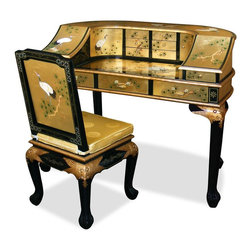 "China Furniture and Arts - Gold Leaf Crane Motif Harpsichord Style Desk w/ Chair - Inspired by the shape of a classical harpsichord, the desk surface is decorated with a hand painted crane motif and gold leaf background to make it truly unique. Extravagant and lavish, it also contains multiple compartments for numerous storage options. Custom made matching chair with silk cushion is included. One glass top included for your convenience. Additional dimensions: chair: 18.25""W x 18.25""W x 39""H; table surface area: 28""W x 14.75""D; small drawer (8 total): 5.5""W x 6.75""D x 1.25""H; semi-circular compartment: 21""W x 7.25""D x 8""H; large drawer (3 total): 12""W x 13""D x 2.5""H."