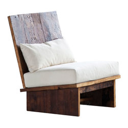 Kelly Elm Chair - Perfect for warming up brick walls and all-white loft spaces, the Kelly Elm Chair makes a handsome accent chair or modern industrial entryway slipper chair. This seat gives you comfort without the need for cushions or pillows, all without losing its modern sensibilities and rustic roots.