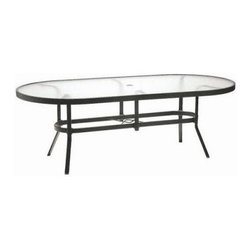 Winston Oval Obscure Glass Top Dining Table - Never be short of table space for you and your guests again! The Winston Oval Obscure Glass Top Dining Table is a lengthy setting that offers more than enough elbow room for you and at least 9 of your friends at the largest size! This tempered glass table with sturdy aluminum frame actually boasts one of the most innovative designs ever seen in a glass tabletop. In the unlikely occurrence of an accident, this table protects you from glass shards. Instead, the glass scatters into harmless pea size pieces that are easy to clean up so you won't have to worry about injury. But let's not think about a worst case scenario because although the glass' safety is quite extraordinary it's the ease of maintenance and attractive appearance that you'll be admiring. The obscure glass hides dirt and scratches and withstands exposure to the outdoors while the frame shows off a lovely finish of your choosing. Pick from antique bisque, bronze, driftwood, espresso, java, metallic graphite, Olympic gold, patina, smooth white, textured pewter, and textured silver. Available in 76 diam. and 84 diam. sizes to seat anywhere from 8 to over 10 people.About Winston Furniture CompanyStarted in 1975, Winston Furniture Company manufactured simple aluminum furniture with virgin vinyl straps. As the popularity of casual furniture increased and consumers craved comfort, Winston answered the call by being the first company to introduce cushioned, mildew-resistant fabrics for outdoor use. In 1982, Winston was once again at the forefront by adding stylish, easy-to-maintain sling furniture to its product line.Today, the Winston Furniture line is comprised of cushion and sling furniture with a host of styles. A variety of powder-coated paint finishes and sling colors, along with over a hundred fabric selections allow you to create just the look you need. All Winston Furniture product materials are proudly sourced in the U.S.A. Welding is completed in a state-of-the-art manufacturing facility in Juarez, Mexico. Products are shipped to El Paso, Texas for finishing and final inspection before being shipped to your door.Winston Furniture Company, Inc. has earned several design and service awards from retailers over the past 25 years. The most notable of these honors is the National Association of Casual Furniture Retailers's; (NACFR) Casual Furniture Manufacturer Leadership Award. Since the awards' inception in 1990, Winston is a four-time recipient as well as a finalist every year.