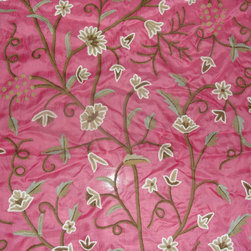 Crewel Fabric World by MDS - Crewel Fabric Grapes Queen Pink Silk Organza- Yardage - History: Grapes was developed by English Crewel Craftsman inspired by the Fresh Vineyards of France.