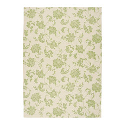 """Nourison - Nourison Home & Garden RS014 7'9"""" x 10'10"""" Green Area Rug 11224 - Like melody in motion, delicate arabesques create a symphony of floral elegance. Gorgeous duotone effect features Spring Green blossoms dancing on a field of Antiqued Ivory. Lovely to look at, soft underfoot and a pleasure in any room, indoors or out."""