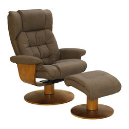 "MAC MOTION CHAIRS - Oslo Collection Chocolate Brown Nubuck Bonded Leather Swivel Recliner w/ Ottoman - Norwegian styling never had it so good, with this unique 2 pc matching chair and ottoman, from the ""Oslo Collection"". Nested within the strong selective hardwood frame with a warm ""Walnut"" wood frame finish, to match its accented ottoman, this is the winner! Offering a pillow top back rest along the back cushion, along with ""MX-2"" memory foam throughout, makes for therapy comfort, support and styling. All within a standard seating area is this models overall width of only 30"". It fits very comfortably within most areas of the home. Features include 360 degree swivel, multiple adjustment recline for personalized positions and matching ottoman. Both pieces are covered in bonded leather, everywhere you touch. This ""Chocolate"" bonded leather color is complimented by the warm ""Walnut"" wood frame finish, of the quality euro style frame."