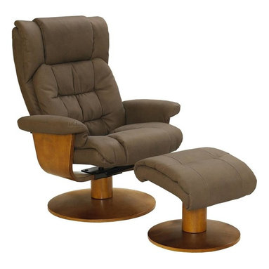 """MAC MOTION CHAIRS - Oslo Collection Chocolate Brown Nubuck Bonded Leather Swivel Recliner w/ Ottoman - Norwegian styling never had it so good, with this unique 2 pc matching chair and ottoman, from the """"Oslo Collection"""". Nested within the strong selective hardwood frame with a warm """"Walnut"""" wood frame finish, to match its accented ottoman, this is the winner! Offering a pillow top back rest along the back cushion, along with """"MX-2"""" memory foam throughout, makes for therapy comfort, support and styling. All within a standard seating area is this models overall width of only 30"""". It fits very comfortably within most areas of the home. Features include 360 degree swivel, multiple adjustment recline for personalized positions and matching ottoman. Both pieces are covered in bonded leather, everywhere you touch. This """"Chocolate"""" bonded leather color is complimented by the warm """"Walnut"""" wood frame finish, of the quality euro style frame."""
