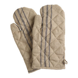 Basque Oven Mitt - These crisp linen oven mitts not only look beautiful, but they also tell a wonderful story. Similar to the cloths made from the Basque loom, they are reminiscent of the life of cattlemen, or bouviers, in France. The cloth would have been used to protect animals from the sun and weather during long treks uphill. The stripe colors indicated the region the cattle are from and the width of the stripes determined the landowner's wealth.
