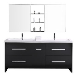 "Design Elements - Design Elements DEC079B Vanity in Espresso - The Perfecta 72"" double-sink vanity set lives up to its demanding name. With a cabinet that is fully constructed of solid hardwood, it is durable and substantial. The tailored edges of the integrated white acrylic sinks contrast strikingly with the espresso cabinetry to bring a crisp and contemporary look to any bathroom. This set includes four pullout drawers and a soft-closing cabinet door, all finished with satin nickel hardware. Two soft-closing mirrored medicine cabinets with joining espresso shelves provide additional storage."