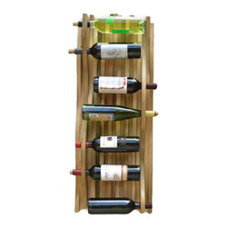 Adams Elemental Design - Falling Water Accent Hardwood Wine Rack, China Red - This vertical wine rack is made in the likeness of falling water. Made from poplar because of its beautiful green and purple coloring in the grains, it is hand-scribed with unique wave patterns and hand-sanded for a smooth and finished look and feel.