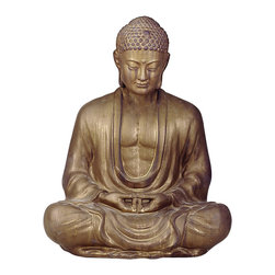 "Kathy Kuo Home - Antique Bronze Ceramic Meditating Buddha Lotus Seat Sculpture- 30""H - Seated with eyes gently cast down in deep meditation, this Meditating Buddha statue is the physical embodiment of reaching the enlightened state."