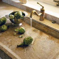 Kitchen Countertops out of  Antique Thick Limestone Slabs, (Mediterranean Style) - Images by: 'Ancient Surfaces
