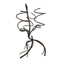 Countertop 3 Bottle Branch Motif Wine Holder Tree - This cool metal 3 bottle wine holder uses round stock rolled metal to create a gnarled tree motif. The holder measures 21 inches tall, 11 1/2 inches wide and 10 1/2 inches deep, and has plastic caps on the feet to prevent your counters or tables from getting scratched. It has a deep bronze enamel finish. It looks great in kitchens, living rooms or dens, and makes a great housewarming gift.