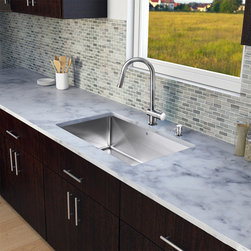 Vigo - Vigo All-in-One Undermount 30-inch Kitchen Sink and Faucet Set - Update your kitchen with this modern-looking kitchen sink and faucet set from Vigo. Complete with an undermounted,stainless-steel sink and chrome hardware,this set also features a soap dispenser,bottom grid,and sink strainer for your convenience.