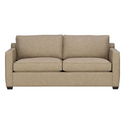 Davis Queen Sleeper Sofa - Davis is a contemporary compact sofa-sleeper designed for contemporary real life. Coming in at just six-and-a-half feet wide but a full three feet deep, it sits big in small spaces. Pair it with its companion stand-alone or sectional pieces in a sophisticated tonal taupe weave, all with firm but plump support. Understated hardwood legs have a rich hickory stain. Sectional also available.