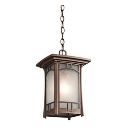Kichler Soria 1 Light Outdoor Hanging Pendant - 14H in. Aged Bronze - The Kichler Soria 1 Light Outdoor Hanging Pendant - 14H in. Aged Bronze is the perfect pendant if you're looking to add some Mission mystique to your porch or stoop. It's crafted of sturdy cast aluminum and finished in an aged bronze that's neither too light nor too dark. The vetro mica glass shade has a crackle pattern that softens the light, and the pendant comes complete with 72 inches of chain and 28 inches of supply wire. You'll just need to add one 100-watt medium base bulb.Kichler QualitySince 1938, Cleveland-based Kichler Lighting has been known for their innovative designs and excellent craftsmanship. Kichler is the world's leading decorative lighting fixture company and the winner of four ARTS Lighting Manufacturer of the Year awards. Kichler designers travel the world to discover the latest trends in exterior and interior style, colors, and designs. They then translate the best of those trends into fixtures that will bring beauty, pleasure, and light into your home. Kichler fixtures stand the test of time and are functional works of art that you're sure to treasure.