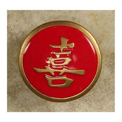 """Anne At Home - 1 3/4"""" Happiness Red/Gold Epoxy Knob (Set of 10) - Hand cast and finished. Made in the USA. Pewter & Epoxy with brass insert. Collection: Asian. 1.75 in. L x 1.75 in. W x 0.75 in. H"""