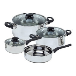 Magefesa - Magefesa Deliss Stainless Steel 7 Piece Cookware Set Multicolor - 01BXDELIS07 - Shop for Cookware Sets from Hayneedle.com! The Magefesa 01BXDELIS07 Deliss Stainless Steel 7 Piece Cookware Set includes the pans every cook uses on a daily basis in a beautiful stainless steel design. Constructed of 18/10 stainless steel with a mirror-polished finish these pans are durable enough for everyday use. They also feature stay-cool flameproof Bakelite handles and knobs for safety while cooking. The heat-resistant glass lids have steam vents and with nonstick mirror-polished interiors and a dishwasher-safe design cleanup is a breeze.This set includes the essential pans you need to create delicious meals: a 3-quart casserole pot with lid 5-quart casserole pot with lid 2-quart saucepan with lid and 9-inch frying pan. A one-year warranty is included.About Magefesa USA.Magefesa is a large Spanish kitchenware manufacturer specializing in pressure cookers domestic and professional cookware and frying and paella pans. Magefesa has a commercial presence in 46 countries on five continents. It is a household name in many countries such as Spain the United States Canada Korea Japan Australia and New Zealand.Magefesa produces its products mainly in Spain and the company's three most important production plants are located in the north of Spain. There Magefesa produces its enamel-on-steel cookware nonstick products cutleries stainless steel cookware sets and pressure cookers. With more than 1 million square feet of production and warehousing plants and an experienced team Magefesa brings its customers and distributors excellent service and high-quality products.