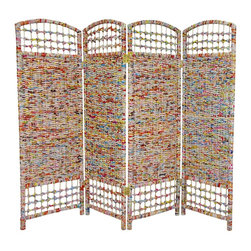"""Oriental Furniture - 4 ft. Tall Recycled Magazine Room Divider - 4 Panels - Hand-crafted from recycled East Asian magazines, woven into kiln dried, mitered wood frames. Each piece is one of a kind, as artisans weave a unique pattern of color and geometry into each panel. Perfectly sized for hiding a fire place, screening a pet's food or bed, or as a modesty screen in front of a desk or table. Use as a """"Shabby chic"""" decorative background for potted plants or collectible displays."""