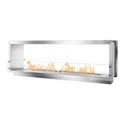 "IGNIS - Ignis Bio Ethanol Fireplace Insert Fb6200-D Firebox - For those who are serious about incorporating real fire into their residential or commercial space, Ignis Development has created the FB6200-D. This large, double-sided ethanol firebox is a seamless way to incorporate the fascinating element of fire into your new-build or renovation project. Among the best in bespoke fireplaces, this fire box uses the EB6200, a widely-acclaimed ethanol fireplace burner by Ignis. Offering 53"" of elongated flame, this ethanol fire box is certain to make an impact no matter where it's used. Built of grade 304 polished stainless steel, which is synonymous with durability and high-heat resistance, this ethanol insert box offers double wall construction, using stainless steel that measures 3mm wide. Enhancing its level of protection, the firebox is insulated with a patented rock wool insulation, causing a resistance of heat and an increased level of safety not found with other fireplace makers. When constructing this top-quality zero clearance ethanol fire box, ease of operation for the end-user and simple installation were of high importance for the designers at Ignis. For easy installation, simply use the surrounding flange to build the fireplace into the wall, existing fireplace opening or custom surround. Because this firebox is fueled by bio ethanol, there is no need to install a chimney nor an expensive and intricate venting system. The FB6200-D Ethanol Fire Box is an ideal application for a large residence, hotel, restaurant or club. With its two-sided construction, this ethanol fire box creates an intriguing and fiery window of sorts to impress guests, clients or anyone else in its proximity. This firebox is assembled by manual labor and constructed using patented technology that is exclusive to Ignis Development."