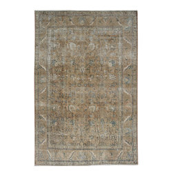 """ALRUG - Handmade Brown Persian Antique Vintage Rug 6' 6"""" x 9' 5"""" (ft) - This Persian Vintage design rug is hand-knotted with Wool on Cotton."""