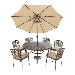 Oakland Living - 9-Pc Round Patio Dining Table Set - Includes one round table, six stackable chairs with cushions, crank and tilting umbrella and stand. Metal hardware. Fade, chip and crack resistant. Umbrella hole. Center of table can be replaced with ice bucket. Traditional lattice pattern and scroll work. Warranty: One year limited. Made from rust free cast aluminum. Antique bronze hardened powder coat finish. Minimal assembly required. Table: 60 in. Dia. x 29 in. H (70 lbs.). Chair: 23 in. W x 22 in. D x 35.5 in. H (25 lbs.)This 60 inch 9 piece dining set is the prefect piece for any outdoor dinner setting. Just the right size for any backyard or patio. The Oakland Mississippi Collection combines southern style and modern designs giving you a rich addition to any outdoor setting. Each piece is hand cast and finished for the highest quality possible.