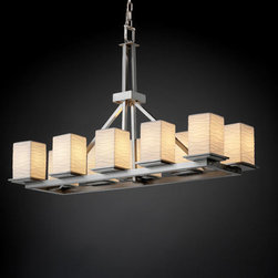 Justice Design Group - Limoges Montana 10-Light Brushed Nickel Rectangular Ring Chandelier - - Includes 6 ft. of chain and 10 ft. of wire. Supplemental mounting support required independent of j-box. Approximate fixture weight: 85 lbs.  - Shade Detail - Waves  - Shade Material - Translucent Porcelain Justice Design Group - POR865015WAVENC