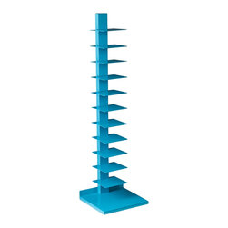 Holly & Martin - Holly & Martin Heights Book/Media Tower, Berry Blue - Add a pop of color to your home! This bright media tower works as an artistic focal point in any room. The tall yet slender design saves valuable space and works well in large or small places. This tower features 11 metal shelves for storing books, magazines, movies, or decorative items. The bright, berry blue painted finish and powder-coated metal combine for long-lasting quality. This extremely versatile tower works as a bookshelf in the bedroom, a media stand for the family room, or even as a towel stand in the bathroom. The bold color works best in transitional to modern homes. Please note: Our photos are as accurate as possible, but color discrepancies may occur between the product and your monitor. The handcrafted touch of artisan skill also creates variations in color, size, and design; slight differences should be expected.