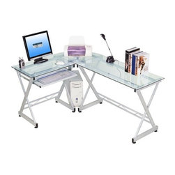 """Techni Mobili - Tempered Glass L-Computer Desk - Want a computer desk that is stylish and affordable? This desk is just that! This unique, high quality yet functional piece lets you work on high-tech resistant tempered glass. With multiple shelves including a keyboard drawer, shelf for your CPU and a spacious worksurface, you are sure to be pleased. Features: -Available in clear tempered glass.-Pull out keyboard shelf with safety stop and room for mouse.-Shelves specially designed for printer and CPU.-Monitor up to 17 inches can be used for this unit.-Spacious worksurface.-Heavy duty 18mm fiberboard for the table top and a 15mm for the other boards and shelves.-All hardware for assembly is included.-Distressed: No.-Desk Type: Computer Desk.-Top Finish: Glass.-Base Finish: Glass.-Accent Finish: Steel.-Powder Coated Finish: Yes.-Gloss Finish: No.-UV Finish: No.-Top Material : Glass.-Base Material: Steel Frame.-Number of Items Included: 1.-Water Resistant: Yes -Water Resistant Details: Water Resistant..-Stain Resistant: No.-Heat Resistant: No.-Design: L-Shaped.-Collection: Techni Mobili.-Cable Management: No.-Keyboard Tray: Yes.-Height Adjustable: No.-Drawers Included: No.-Pencil Drawer: No.-Jewelry Tray: No.-Exterior Shelving : No.-Scratch Resistant: No.-Chair Included: No.-Weight Capacity: 66 lbs.Specifications: -FSC Certified: No.-EPP Certified: No.-CARB Compliant: No.-ISTA 3A Certified: No.-Green Guard Certified: No.Dimensions: -Overall Product Weight: 75 lbs.-Overall Height - Top to Bottom: 29.5"""".-Overall Width - Side to Side: 45.25"""".-Overall Depth - Front to Back: 18.5"""".-Drawer: -Drawer Interior Height - Top to Bottom: 3.5""""..-Shelving: No.-Seat: No.-Desktop Height: 29.5"""".-Desktop Width - Side to Side: 45.25"""".-Desktop Depth - Front to Back: 18.5"""".-Knee Space Height: 24.75"""".-Knee Space Width: 26"""".-Knee Space Depth: 19"""".-Hutch : No.-Legs: -Leg Height: 28"""".-Leg Width - Side to Side: 2"""".-Leg Depth - Front to Back: 2""""..Assembly: -Assembly Required: Yes.-Additional Part"""