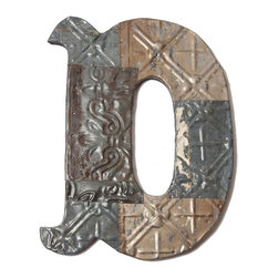 Ozark Folk Art - Ozark Folk Art Antique Tin Letter D - Small - This line of antique decorative symbols are handmade in the United States from reclaimed ceiling tin from the early 1900. Constructed from various pieces of tin hammered to evoke a patch work effect each symbol has a unique color pattern and texture. These historic symbols have a beautiful weathered and aged look. Shades level of distress and tin patterns vary based on the age and location of their original structure. The tin is secured to a painted black solid wood backing with hanging hardware attached. They are easy to hang on the wall or lean on a shelf a bit of history perfect or any decor.