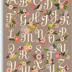 Alphabet Floral Wall Art, Taupe - What little lady wouldn't like a beautiful alphabet to learn from? I especially like the taupe background that keeps it feeling a little more modern.
