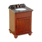 Bosconi - 25 in. Classic Single Vanity - Includes sink overflow drain. Faucet and drain not included. Vanity with two doors. Single cabinet for storing toiletries and other products. 0.7 in. thick dark emperador marble countertop. White and under-mount ceramic basin sink. Three 8 in. standard faucet holes. Antique brass hardware. Made from solid wood frame, CARB PH2 certified MDF sides and panelling. Antique red finish. Matching backsplash: 0.7 in. W x 3.1 in. H. Sink: 16 in. W x 13 in. D x 7.5 in. H. Overall: 25 in. W x 21 in. D x 33 in. H (105 lbs.)Simple yet elegant, It fulfills all of the basic needs that are required from a vanity.