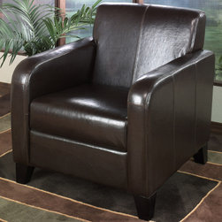Armen Living - 1400 Brown Leather Club Chair - Classic transitional club chair. Brown leather with espresso wood finished feet. A good choice for the office or home.