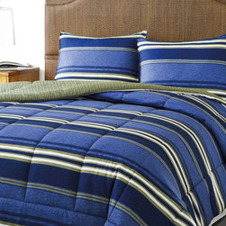 Eddie Bauer - Eddie Bauer Friday Harbour Reversible 3-piece Comforter Set - Eddie Bauer's Friday Harbour comforter set is a modern choice for any bedroom. The comforter displays a stripe face in a blue and green finish and a khaki striped reverse. Coordinate with Eddie Bauer blankets,quilts and sheet sets.