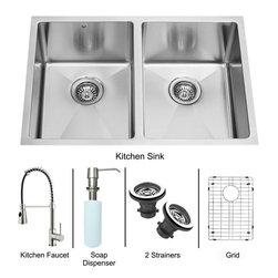 Vigo - All in One 29in.  Undermount Double Bowl Kitchen Sink and Faucet Set - Revitalize the look of your kitchen with a VIGO All in One Kitchen Set featuring a 29in.  Undermount kitchen sink, faucet, soap dispenser, two matching bottom grids and two sink strainers.