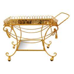 "Vintage Charles Hollis Jones Tea or Bar Cart - Gold and mirrors make a stunning combination for the most formal rooms in any house. To keep ""clinking"" at bay and to avoid broken glass, we'd use a bar cart like this one to house hors d'oeuvres."