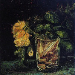 """Vincent Van Gogh Glass with Roses - 18"""" x 24"""" Premium Archival Print - 18"""" x 24"""" Vincent Van Gogh Glass with Roses premium archival print reproduced to meet museum quality standards. Our museum quality archival prints are produced using high-precision print technology for a more accurate reproduction printed on high quality, heavyweight matte presentation paper with fade-resistant, archival inks. Our progressive business model allows us to offer works of art to you at the best wholesale pricing, significantly less than art gallery prices, affordable to all. This line of artwork is produced with extra white border space (if you choose to have it framed, for your framer to work with to frame properly or utilize a larger mat and/or frame).  We present a comprehensive collection of exceptional art reproductions byVincent Van Gogh."""