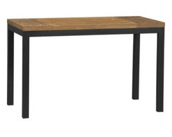 Teak Top/ Natural Dark Steel Base 48x28 Parsons Dining Table - Clean simple lines in four dining sizes are made of hot-rolled steel, hand-welded and ground at each corner to create a raw, torched millscale finish. Top is handcrafted from repurposed teak from Southeast Asia with variations in wood grains, texture and color, knots and other naturally occurring characteristics that add to the distinct character.