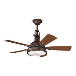 "Kichler 4-Light Ceiling Fan - Tannery Bronze - Four Light Ceiling Fan Unique industrial influencing with warm finishes gives this lighting outdoor ceiling fan an antique-like quality. The warm tannery bronze powder coat is complimented by the clear Fresnel lens with a gloss white interior and coordinating reversible medium walnut/cherry fan blades. 153mm x 17mm motor size. 52"" blade sweep with 14 blade pitch. Includes 12"" downrod with 1"" (o. D. ). cooltouch control system (included). Downlight integrated: uses (4) e-12 40-w. Krypton t3 lamps (included). Low ceiling adaptable. Flush mount canopy (included). 3-speeds - forward & reverse."