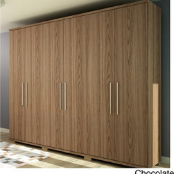None - Manhattan Comfort 'Chelsea' 6-door Wardrobe - Keep your favorite clothing and accessories organized and out of the way with the convenient Chelsea six-door wardrobe. Available in three contemporary finishes,this natural wood wardrobe features plentiful storage solutions.