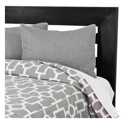 """Sands - Chooty - Ellington Smoke Corded Standard Cut Queen Duvet and 2 Smoke Corded Shams - Soft, comfortable and a decided focal point for your room, this chic Duvet Set adds an attractive touch to any bedroom. The set includes the duvet in a versatile grey color with a trendy geometric pattern accented by two smoke corded shams.  The set will pair perfectly with your modern dcor. (Queen Size 90""""W x 94""""L)"""