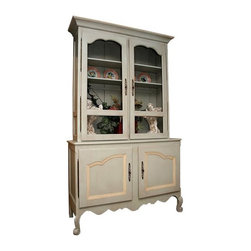 "British Traditions - French Country Scalloped China Cabinet (Taupe) - Finish: Taupe. Each finish is hand painted and actual finish color may differ from those show for this product. Hutch and sideboard with French moldings. Chicken wire doors. 3 Adjustable shelves top standard. Minimal assembly required. Top interior cabinet: 49 in. W x 11 in. D x 56 in. H. 54.5 in. W x 19 in. D x 96 in. H (162 lbs.)Lovely French dresser with a lofty, elegant shelf, which gives it real presence in any country or ""high-country"" setting. The French-wire inserts in the shelf doors set off the shaped door mouldings. The base is also distinguished by beautiful mouldings on its substantial and typically-French doors. This piece is equally well suited to displaying a prized personal collection of Quimper at home, or the latest dinnerware imports in the shop."