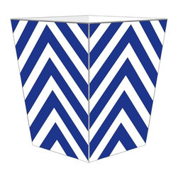 "Marye Kelley - Marye Kelley Royal Chevron Decoupage Wastebasket with Optional Tissue Box, 12"" F - This is a handmade decoupage wastebasket with optional tissue box.  All items are handmade in the USA.  There are three different styles available.  There is the 12"" Fluted Tin Design, the 11"" Square Design with a flat top or the 11"" Square design with a scalloped top.  Coordinating tissue boxes may also be made. Please note all items are custom made and may not be returned."