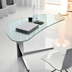 Island Modern Desk by Cattelan Italia - Enchant your office or study with the Island Modern Desk,which features an organically shaped glass or wood desktop. Its base is fabricated from stainless steel,and it is a fresh approach to traditional desks. Highly functional,it is a prime example of Italian design and workmanship.