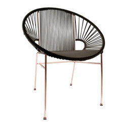 Innit Designs - Copper Concha Chair by Innit Designs - Add some casual glamour to your outdoor dining set with the Innit Designs Copper Concha Chair. It pairs a comfortable seat made of woven black vinyl cords (with a stylized geometric pattern inspired by seashells) with the warm flash of a copper-plated galvanized steel frame. That's a great chair, innit? Innit Designs was originally founded in Mexico as a maker of fun, retro outdoor furnishings. Starting with the original Acapulco Chair, all Innit furniture is made with welded steel tube frames and woven vinyl seats, resulting in pieces that are airy, colorful and surprisingly comfortable. Today, all Innit Designs chairs and other furniture are made entirely by hand in the USA and Canada.