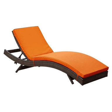 Modway - Peer Chaise in Brown Orange - Dont let moments of relaxation elude you. Peer is a serenely pleasant piece comprised of all-weather cushions and a rattan base. Perfect for use by pools and patio areas, chart the waters of your imagination as you recline either for a nap, good read, or simple breaths of fresh air. Moments of personal discovery await with this chaise lounge that has fold away legs for easy storage or stackability with other Peer lounges.