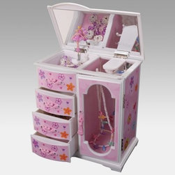 Kelly Musical Jewelry Box - Every princess needs a place to store her precious jewels. Give her one with the Kelly Musical Jewelry box featuring a playful pink design of hearts and flowers.Complete with a large mirror four drawers and a necklace carousel there is no better jewelry box to have ready for dress-up time. Plus the clear viewing door allows her to display her favorite pieces for the whole world to see. About MeleEmidio Mele an Italian immigrant to the United States came to New York City in 1896 and learned to make jewelry boxes as an apprentice before founding Mele Manufacturing in 1912. He began by designing and building elegant displays for jewelry store windows. His jewelry box-making business grew throughout the 1900s responding to demands for boxes to hold Purple Hearts during WWII and developing as a popular household name for quality jewelry boxes. Today Mele Jewelry Box is known as the Mele Companies which encompass various divisions under the Mele name. Now based in Utica N.Y. Mele still upholds the family atmosphere on which it was founded and remains America's foremost name in jewelry cases.