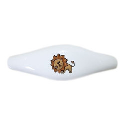 Carolina Hardware and Decor, LLC - Kid's Lion Ceramic Pull Handle, Drawer Pull - New ceramic cabinet, drawer, or furniture pull with mounting hardware included. Pull has standard three inch centers.  Can be wiped clean with a soft damp cloth. Great addition and nice finishing touch to any room!