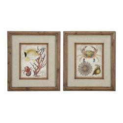 Grace Feyock - Grace Feyock Tropical Waters Framed Wall Art X-23043 - The frames feature a unique, reclaimed wood look with medium brown undertones, dark brown wash and a light taupe glaze. Prints are accented by textured, beige linen mats and are under glass.