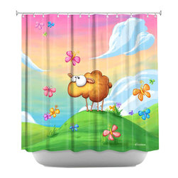 DiaNoche Designs - Shower Curtain Artistic - Wallo the Sheep Pink - DiaNoche Designs works with artists from around the world to bring unique, artistic products to decorate all aspects of your home.  Our designer Shower Curtains will be the talk of every guest to visit your bathroom!  Our Shower Curtains have Sewn reinforced holes for curtain rings, Shower Curtain Rings Not Included.  Dye Sublimation printing adheres the ink to the material for long life and durability. Machine Wash upon arrival for maximum softness on cold and dry low.  Printed in USA.